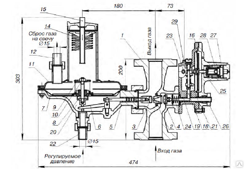 Регулятор давления газа на высокое давление РДП-200В
